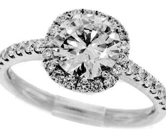 1.86 Carat Halo Round Brilliant Diamond Engagement Ring - GIA Certified