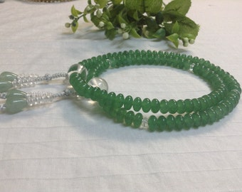 Juzu buddhist bracelet with silver grey woven balls,jade precious stone material traditional rosary