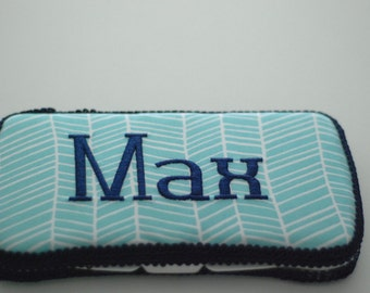 Modern Meadow Herringbone Pond Personalized Baby Wipes Case