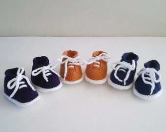 Hand Knitted Booties - 3 Pairs