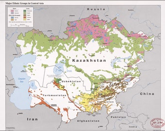 24x36 Poster; Cia Map Of Ethnic Groups In Central Asia 1992