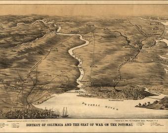24x36 Poster; Civil War Map Washington D.C. Potomac River 1860S