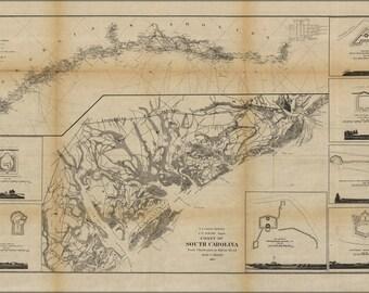 24x36 Poster; Coast Map Of South Carolina 1862