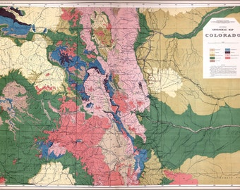 24x36 Poster; Geological Map Of Colorado 1877