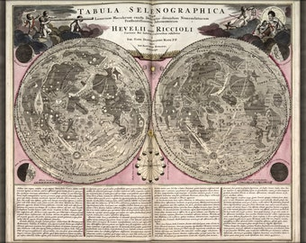 24x36 Poster; Lunar Map Of The Moon 1708 In Latin