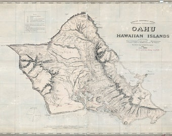 24x36 Poster; Map Of Oahu Hawaii 1898