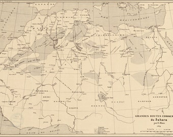 24x36 Poster; Map Of Trade Routes Sahara Desert 1890 In French