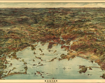 24x36 Poster; Map Of Boston And Environs 1905