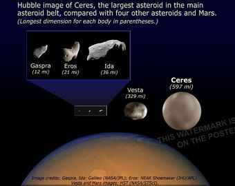 24x36 Poster; Asteroid Size Comparison
