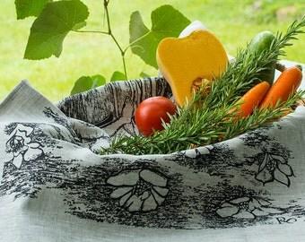 Art tea towels as hand made silk screen print on linen