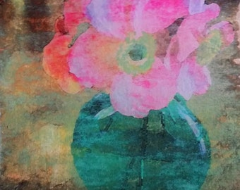 Colorful Floral Wall Art, Anemones in green vase, Original Photo Transfer, Size 8.5 square