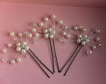 Bridal Hair Pins, Pearl Crystal Bridal Hair Pins, Wedding Hair Accessories, Formal Hair Pins, Graduation Hais pins, Set of three hair pins
