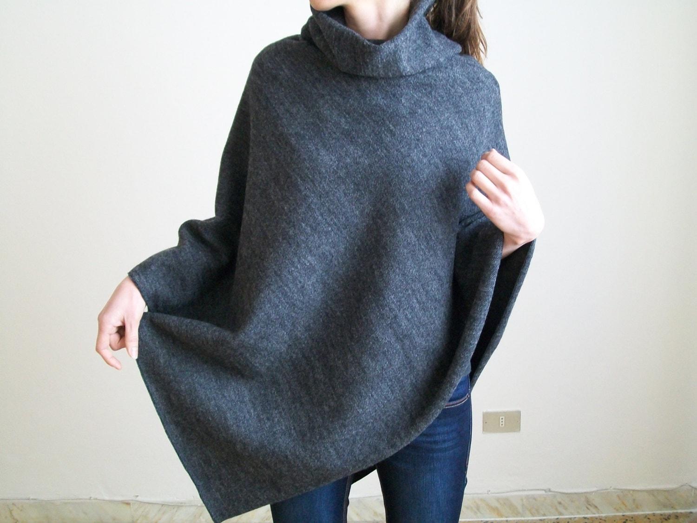women ponchos pure new wool cloak poncho grey wool cape. Black Bedroom Furniture Sets. Home Design Ideas
