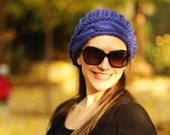 Blue slouchy beanie,woman hat