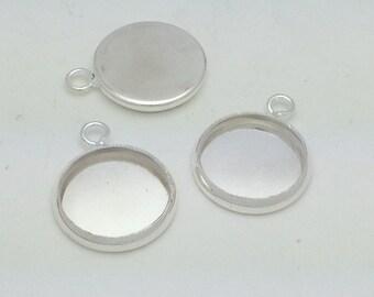 12mm Silver Plated Bezel Blank (qty 10)