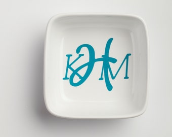 "Personalized Monogram 4"" Square Jewelry Dish"
