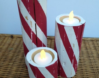 Wooden Candy Cane Candleholders
