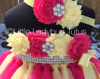 Bright Pink ( Fuschia ) and yellow tulle  empire waist dress. Embellished with shabby flowers, bling sash. Perfect for Lemonade Birthdays