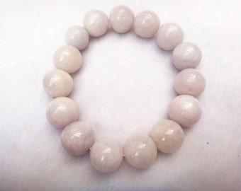 Natural  Lavender jade beaded buddha charm bracelet