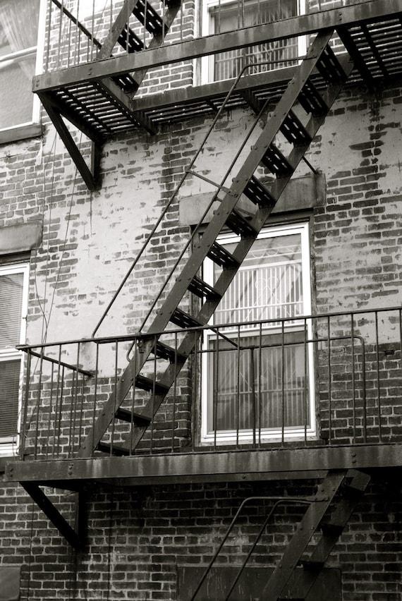 Fire Escape New York City 1940s : Fire escape photograph black and white new york city