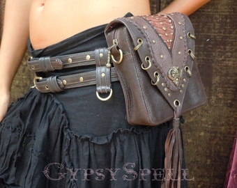 Leather Hip bag Utility Belt Brown Burning Man Steampunk Antique two way