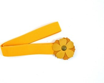 Ochre & Mustard Leather Flower Headband