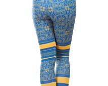 Leggings Kayan Blue Activewear Warm Outdoor Printed Tattoo Hiking Climbing Skiing Pants