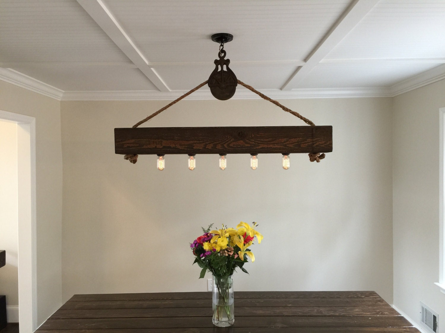 4 ft Rustic Beam Edison Bulb Chandelier by HandCraftedLighting