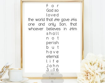 For God so Loved the World John 3:16 3 16 Bible verse, Scripture Print, Christian quote, wall art, nursery decor, teen room decor, gift