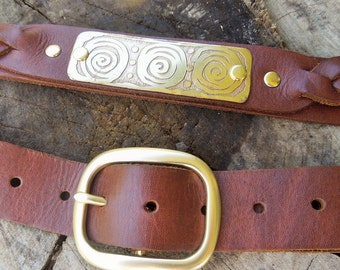 Leather Belt with Etched Brass and Brass Buckle