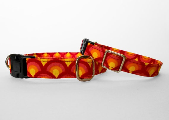 Items similar to sunny summer fish scale dog collar red for Fish dog collar