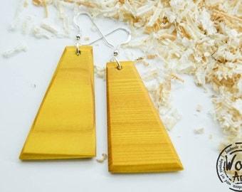 Yellow Wood Earrings, Dangle Earrings, Summer Earrings, Fashion Earrings, Ooak Earrings, Wooden Earrings, Minimalistic, Unique Earrings