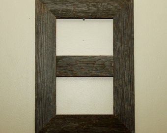 Reclaimed rustic double 5x7 barnwood frame picture frame collage barn wood unique