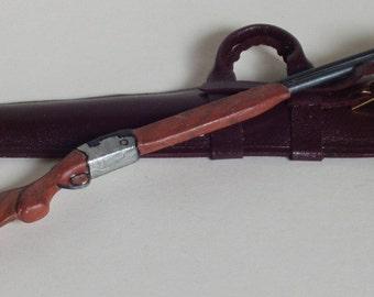 Custodia in pelle per fucile da caccia, fatto a mano, scala 1/12