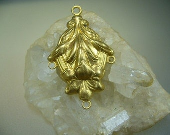 Vintage 1950's Brass Pendant Necklace Jewelry Supplies
