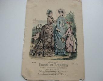 "Antique Fashion Drawing ""Journal Des Demoiselles""  Edited August 1875."
