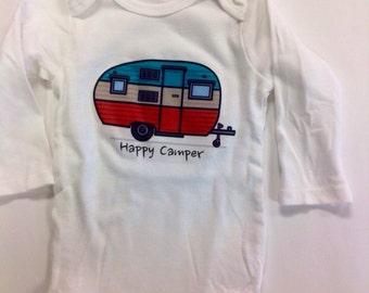 Baby Onesie W/ Sayings, Boy Onesie, Girl Onesie, Iron On Onesie, Happy Camper Onesie, Vintage trailer Onesie, Vintage Camper Onesie