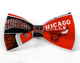 Chicago Bulls Bow Tie | Bow Tie for Men | For Him | Bowtie | Self Tie | Dog Bow Tie | Mens Bow Tie | Boys Bow Tie | NBA | Sports Bow Tie