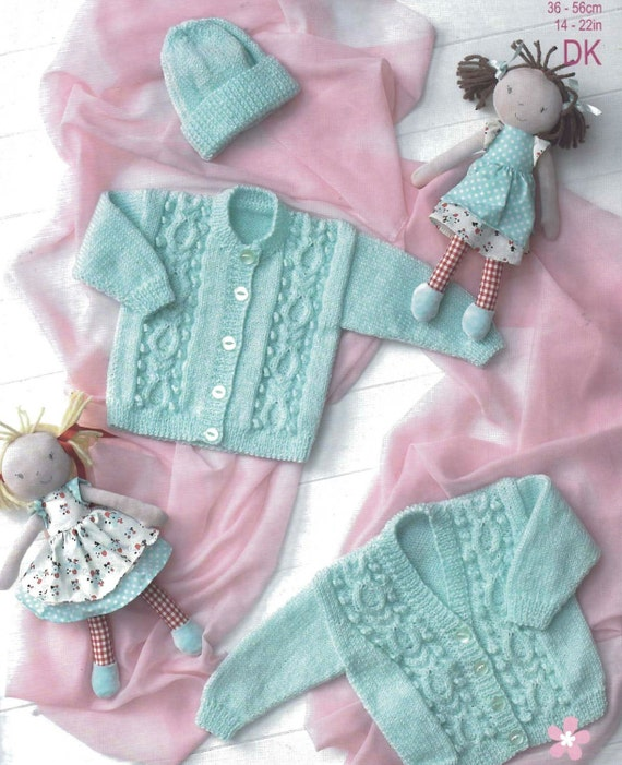 Knitting Pattern For Vintage Baby Bonnet : Knit Baby Cabled Cardigan Sweater Bonnet Vintage Knitting