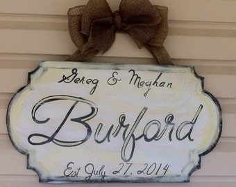 Shabby Chic inspired wooden door hanger.  2 ft x 2 ft & makes the perfect gift!