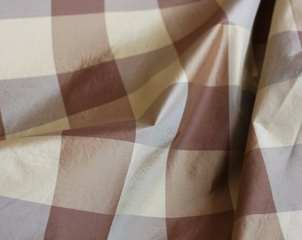 FABRIC Silk Plaid fabric, Beige/Brown/Gold color, knit backing for upholstery, 100% silk, For Light Upholstery, Drapery, Bedding,