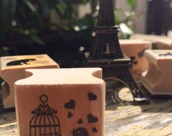Happy Mori Wood Stamp BIRDCAGE 1PC