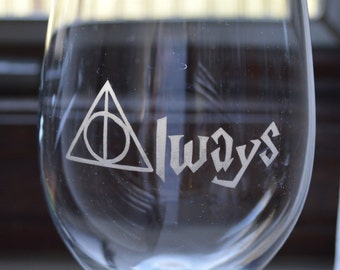 Etched Always (Harry Potter) Wine Glass