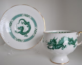Dragon cup and saucer set by Rosina of England