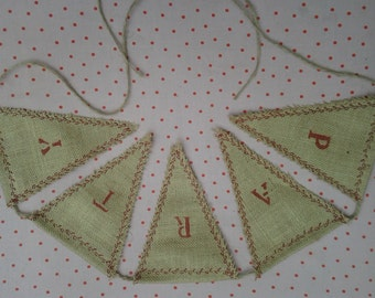 Burlap Bunting, Hessian bunting, Burlap Banner, PARTY banner, Shabby Chic, Rustic, Handmade embroidered bunting