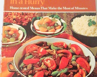 Vintage 1970 Betty Crocker's Family Dinners In a Hurry Cookbook, Home-tested Menus That Make the Most of Minutes