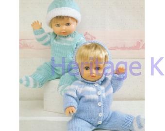 doll clothes blue dk knitting pattern 99p