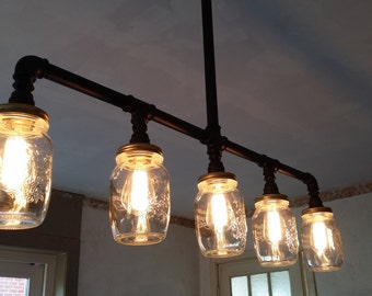Industrial Edison Chandelier with mason Jars