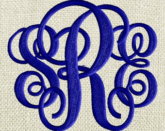 "Scripty Monogram Font Embroidery File - 26 Letters -2 sizes 2.75"" & 1.75"" EMBROIDERY DESIGN Instant download Dst Hus Jef Pes Exp Vp3 format"