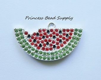 Watermelon Slice Rhinestone Pendant for Chunky Necklaces,  45 x 22mm Watermelon Slice  Pendant, Chunky Necklace Pendant, Summer Pendant